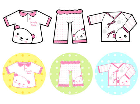 Different styles of Tshirt and Pants, Sets. Baby and Children Goods Vector Icon Series. Vector