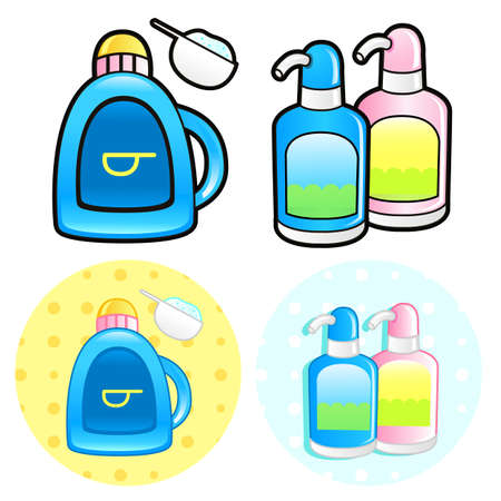 Various styles of Shampoo and Conditioner Sets. Household Items Vector Icon Series. Vector