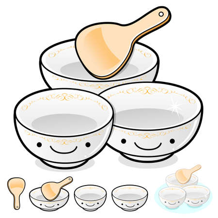 Diverse styles of Rice bowl and Soup bowl Sets. Kitchen utensils Vector Icon Series. Vector