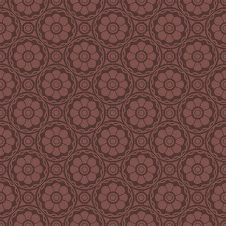 Red Brown Colors Flower Pattern Design. Korean traditional Pattern Design Series. Vector