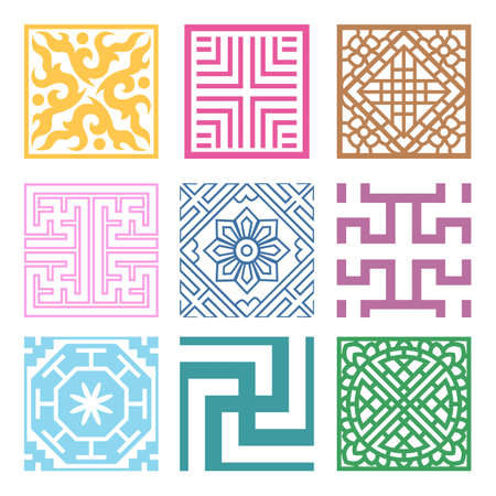 Plaid Symbol sets. Geometric Pattern Design. Korean traditional Pattern is a Pattern Design. Vector