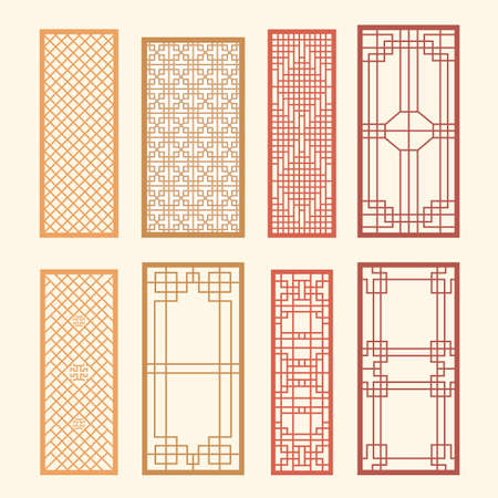 Korean old of Window Frame Symbol sets. Korean traditional Pattern is a Pattern Design. Vector