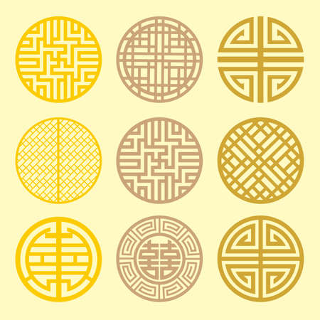 Round grid Symbol sets. Geometric Pattern Design. Korean traditional Pattern is a Pattern Design. Vector