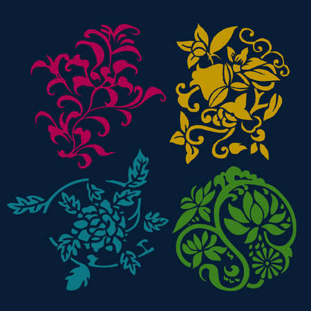 Different styles of Flower and Plant Symbol Sets. Original Pattern and Symbol Series. Vector