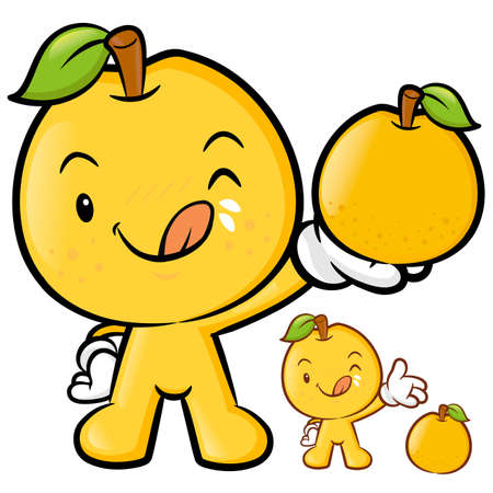 Pear Mascot the Right hand is holding a big Fruit. Fruit Character Design Series. Vector