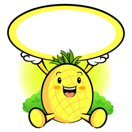 The Pineapple Mascot holding a big board with both hands. Fruit Character Design Series. Vector