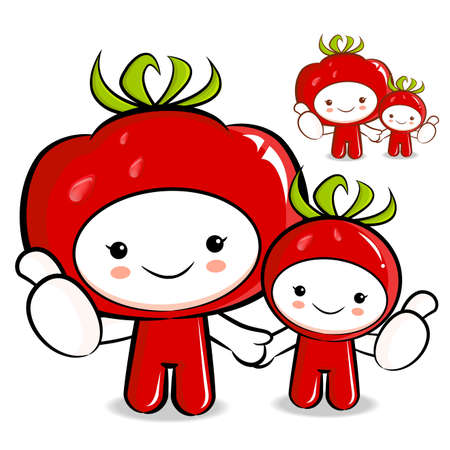 Tomato couple characters to promote Vegetable selling. Vegetable Character Design Series. Vector
