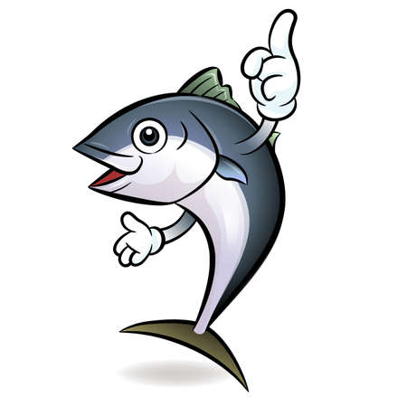 Cooks Tuna mascot the direction of pointing with both hands. Scombridae Character Design Series. Vector