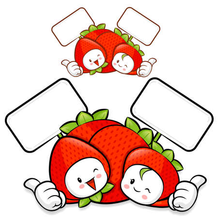 Strawberry Couple characters to promote fruit selling. Fruit Character Design Series. Vector