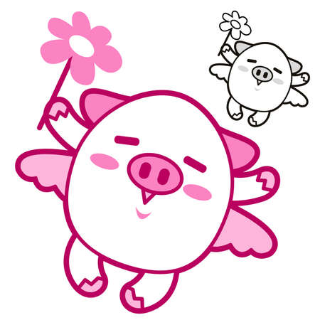 Pig Mascot flying to the sky. Animal Character Design Series. Vector