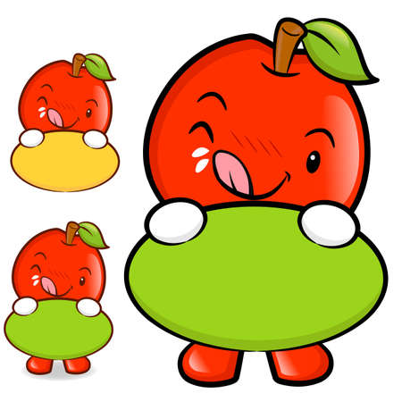 The Apple Mascot holding a big board with both hands. Fruit Character Design Series. Vector
