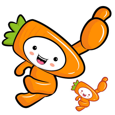 Carrot Mascot the Right hand best gesture. Vegetable Character Design Series. Vector