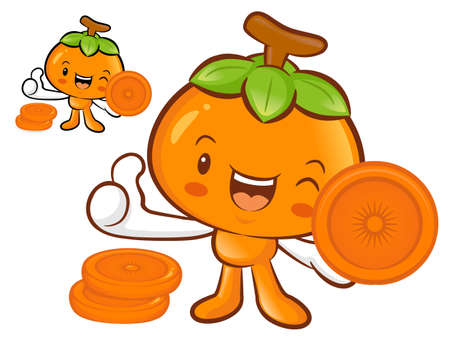 Persimmon Mascot the Left hand best gesture. Fruit Character Design Series. Vector