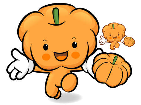 Pumpkin character on Running. Vegetable Character Design Series. Vector