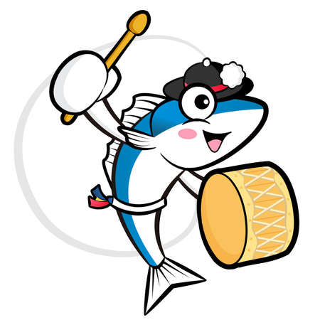 The fish cooks mascot playing the traditional music of Korea. External Blue Colored Fish. Scombridae Character Design Series. Stock Vector - 19485115