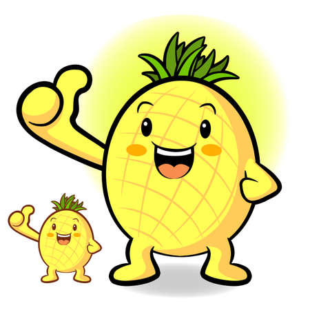 Pineapple Mascot the Left hand best gesture. Fruit Character Design Series. Vector