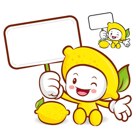Lemon mascot the right hand guides and the left hand is holding a picket. Fruit Character Design Series. Vector
