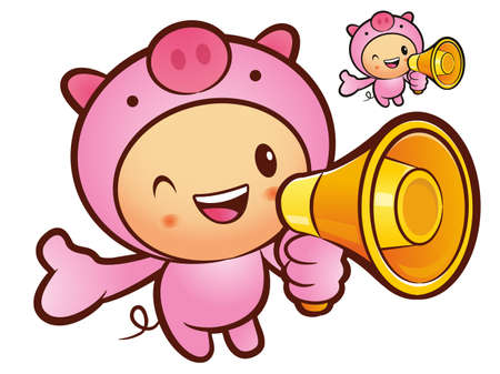 Pig Mascot the left hand guides and right hand is holding a loudspeaker. Animal Character Design Series. Vector