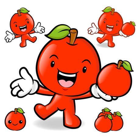 Apple mascot the left hand guides and the right hand is holding a Fruit. Fruit Character Design Series. Vector
