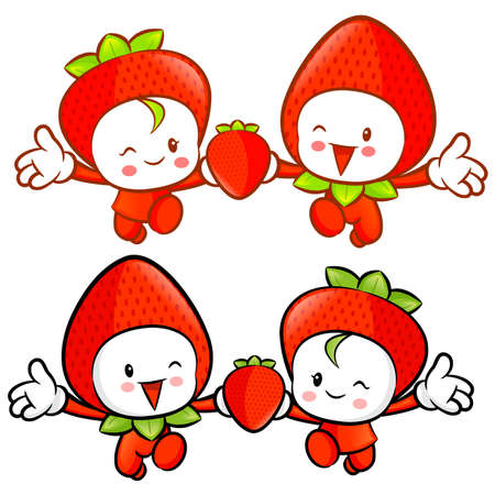 Strawberry character couples on Running. Fruit Character Design Series. Vector