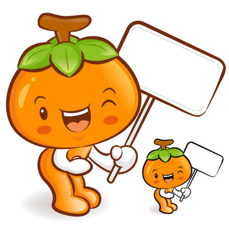 The Persimmon mascot holding a big board. Fruit Character Design Series. Vector