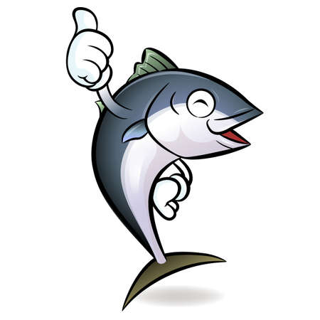 Cooks Tuna Mascot the Left hand best gesture. Scombridae Character Design Series. Vector