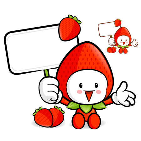 Strawberry mascot the right hand guides and the left hand is holding a picket. Fruit Character Design Series. Vector