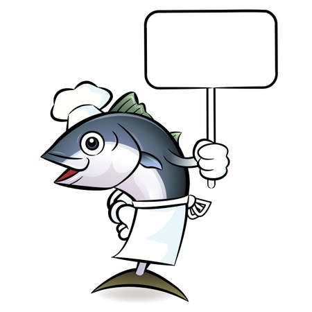 The tuna chef mascot  holding a big board. Scombridae Character Design Series. Vector