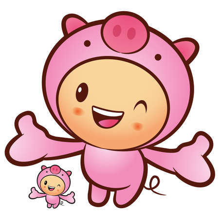 The Pig mascot has been welcomed with both hands. Animal Character Design Series. Vector