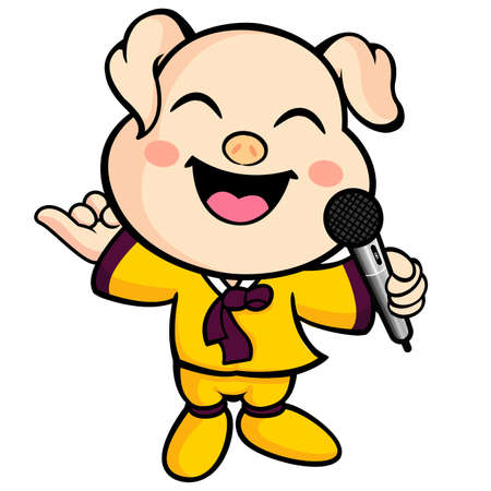 Have happy singing pig mascot. Animal Character Design Series. Vector