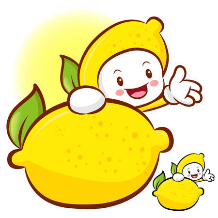 Lemon characters to promote fruit selling. Fruit Character Design Series. Vector