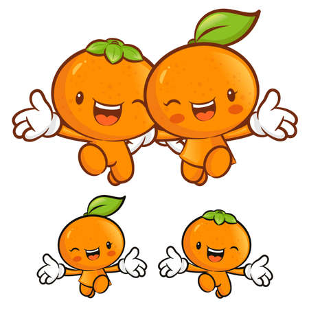 Tangerine and orange character couples on Running. Fruit Character Design Series. Vector