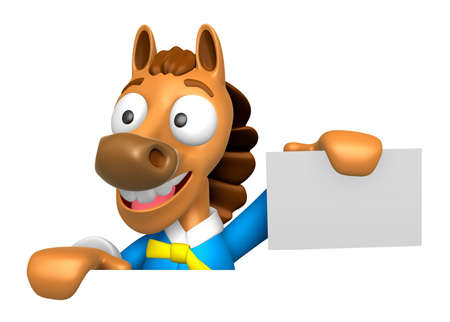 publicize: 3D Horse Mascot hand is holding a board and business cards. 3D Animal Character Design Series. Stock Photo