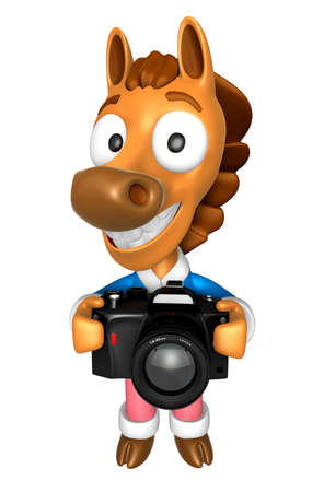 quartet: 3D Horse character to shoot the Big Camera toward the Front. 3D Animal Character Design Series.