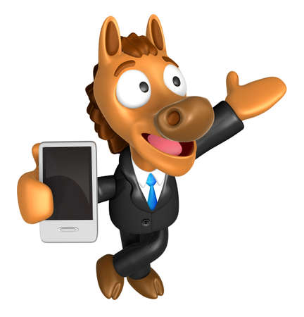 left hand: 3D Horse mascot the right hand guides and the left hand is holding a Smart Phone. 3D Animal Character Design Series.