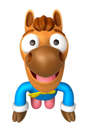 quartet: Korea Traditional 3D Horse Mascot is a polite greeting. 3D Animal Character Design Series. Stock Photo