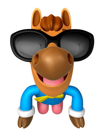 polite: Wear sunglasses Korea Traditional 3D Horse Mascot is a polite greeting. 3D Animal Character Design Series.