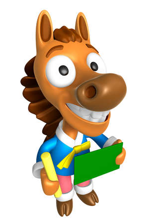 quartet: 3D Horse Mascot hand is holding a Chalk and Chalkboard. 3D Animal Character Design Series.