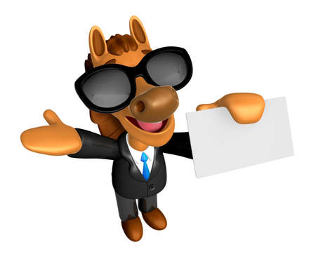 publicize: Wear sunglasses 3D Horse mascot the right hand guides and the left hand is holding a business cards. 3D Animal Character Design Series. Stock Photo