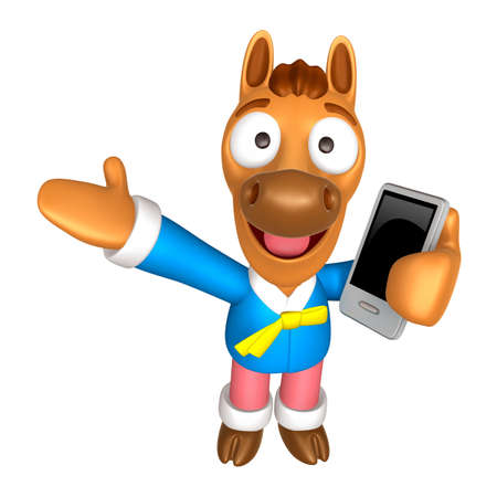 quartet: 3D Horse mascot the left hand guides and the right hand is holding a Smart Phone. 3D Animal Character Design Series. Stock Photo