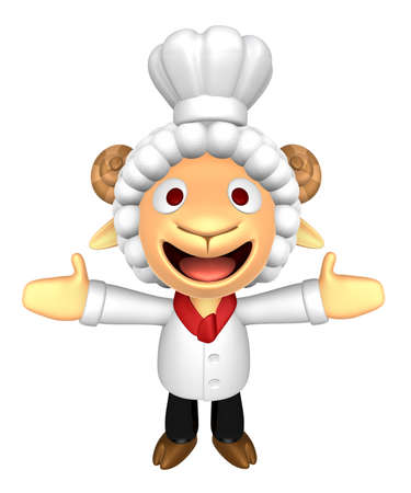 welcomed: 3D Chef Sheep Mascot has been welcomed with both hands. 3D Animal Character Design Series. Stock Photo