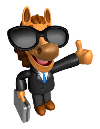 left hand: Wear sunglasses 3D Horse Mascot the right hand best gesture and left hand is holding a briefcase. 3D Animal Character Design Series. Stock Photo