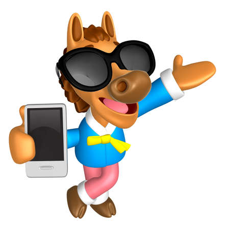 quartet: Wear sunglasses 3D Horse mascot the right hand guides and the left hand is holding a Smart Phone. 3D Animal Character Design Series. Stock Photo