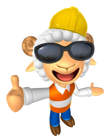 fidelity: Wear sunglasses 3D Construction site Sheep mascot the left hand guides and the right hand best gesture. 3D Animal Character Design Series. Stock Photo