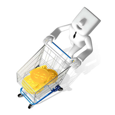 successful campaign: one 3d business man pushing gold coin in the shopping cart Stock Photo