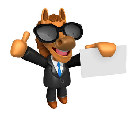 quartet: Wear sunglasses 3D Horse Mascot the right hand best gesture and left hand is holding a business cards. 3D Animal Character Design Series.