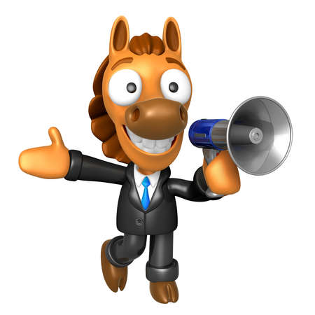 quartet: 3D Horse Mascot the right hand best gesture and left hand is holding a loudspeaker. 3D Animal Character Design Series.