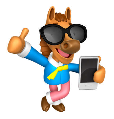 usher: Wear sunglasses 3D Horse Mascot the left hand best gesture and right hand is holding a Smart Phone. 3D Animal Character Design Series.