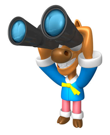 watching 3d: 3D Horse mascot in binoculars watching. 3D Animal Character Design Series.