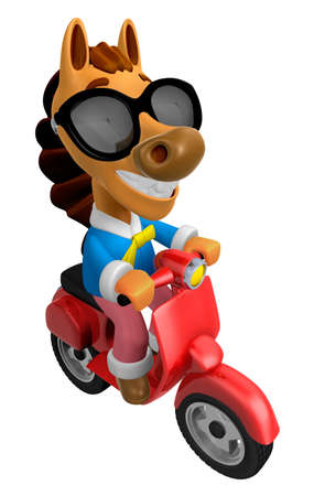 quartet: 3D Horse character the Red motorbike driving. 3D Animal Character Design Series.